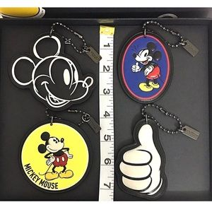 Coach Bags - COACH Disney Mickey 4 Hangtag Bag Charm Set New